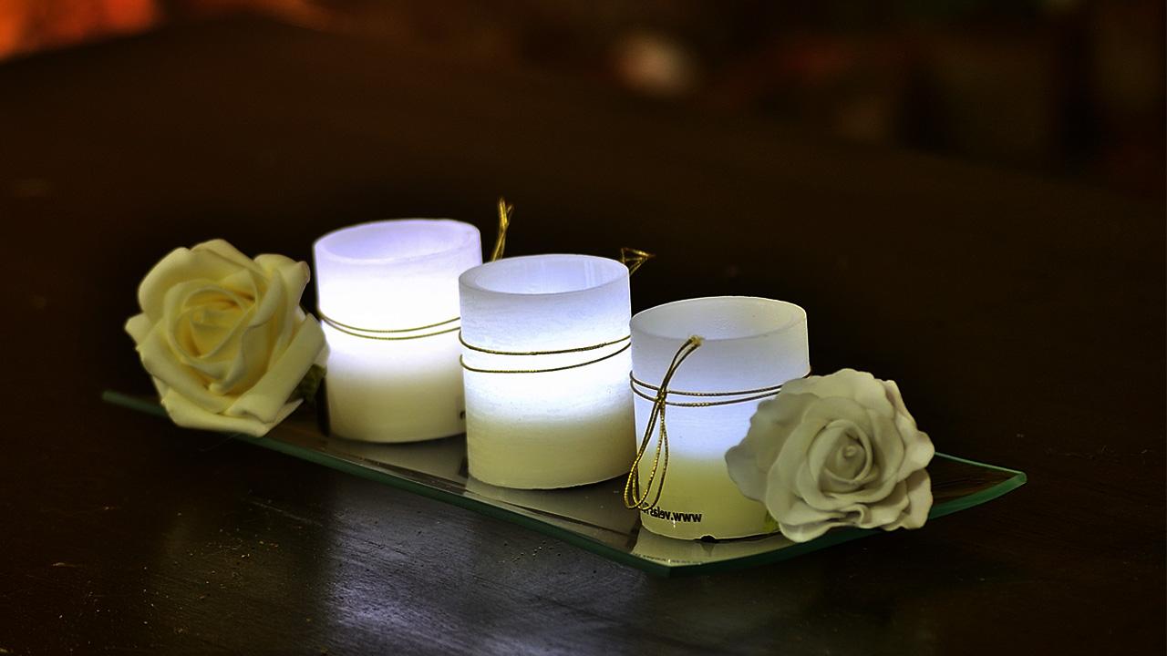 ritual vela blanca y vaso de agua